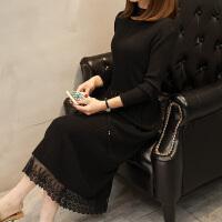 长款毛衣裙过膝女秋冬新款韩版针织衫下摆蕾丝拼接纯色修身连衣裙 均码