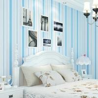 儿童房无纺布壁纸地中海粉条纹公主房卧室客厅墙纸