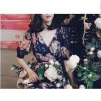 胖mm大码女装夏装韩版收腰显瘦碎花连衣裙沙滩长裙200斤 图片色