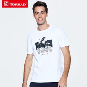 探路者T恤 18春夏户外男柔软透气圆领短袖侏罗纪世界T恤TAJG81985