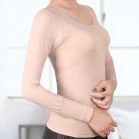 收腹束腰上衣产后长袖美体内衣瘦身衣低圆领纯色女士春秋冬塑身衣