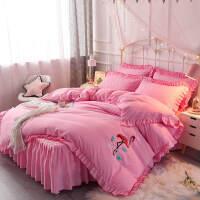 磨毛四件套蕾丝床裙款公主风被套纯色婚庆床罩1.8m1.5米床上用品4