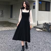 大码女装 2019春季新款胖MM韩版显瘦假两件背带毛衣裙针织连衣裙 黑色 假两件