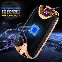 充电打火机双火电弧 指纹感应充电金属防风 智能USB打火机