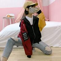 春秋新款韩版原宿风个性拼接撞色长袖连帽薄款短外套女棒球服上衣