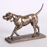 美式复古家居客厅卧室书房样板房玄关摆件仿古铜猎犬摆设工艺品欧式奢华家庭装饰品