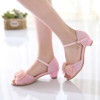夏季韩版新款女童鱼嘴凉鞋女童高跟公主皮鞋中大童露趾凉鞋