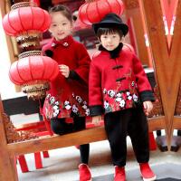 过年喜庆新年唐装冬装儿童宝宝小女孩周岁礼服男中国风女童装拜年