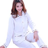 睡衣女冬季长袖加厚法兰绒套装家居服秋冬珊瑚绒大码纯色白色韩版