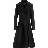 中长款修身气质加厚羊毛呢子外套女冬季新款黑色赫本风羊毛呢子大衣加厚宽 黑色