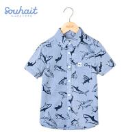 水孩儿souhait男童夏季新款个性动物海洋小怪兽合作款短袖衬衫ASXXM550