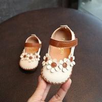 拥抱熊2018年春季新款女童公主鞋 花朵婴儿学步鞋软底0-1岁女宝宝皮鞋
