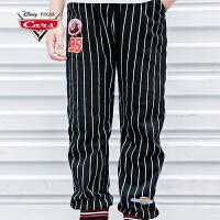 【3件3折价:60.5】迪士尼赛车总动员童装男童秋装2018秋冬新品条纹休闲裤长裤裤子