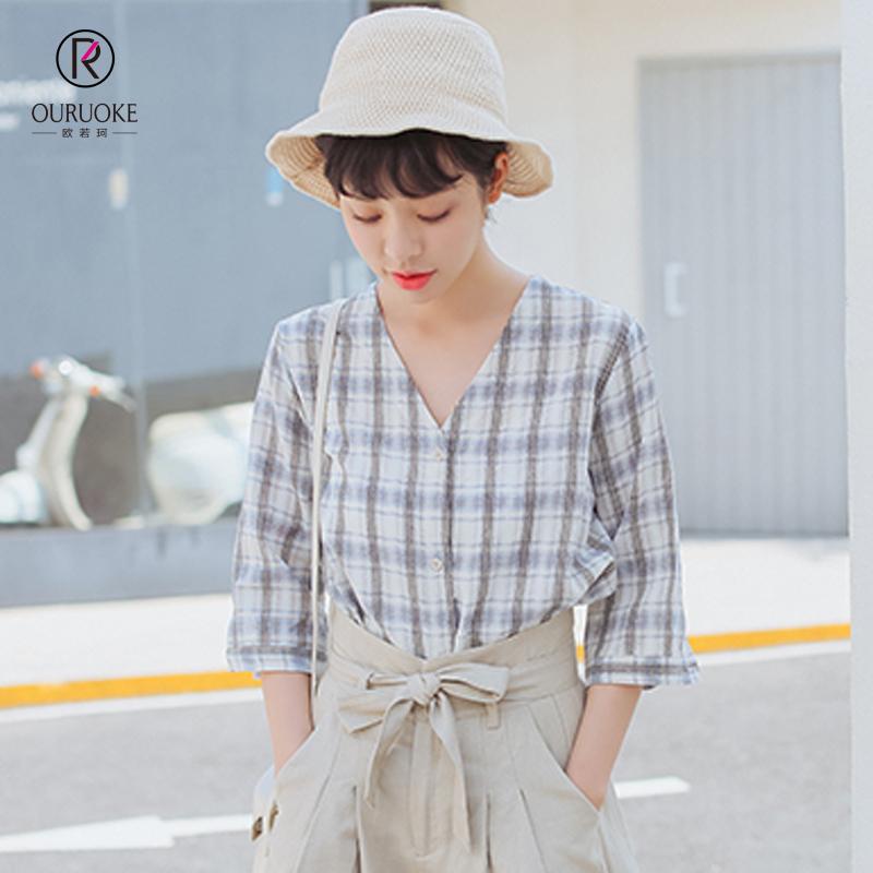 欧若珂  2018夏季新款韩版文艺气质软妹格子V领中袖衬衫女