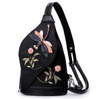 20180701065329645中国风多功能刺绣蜻蜓双肩包女轻便尼龙布胸包牛津布两用 黑色