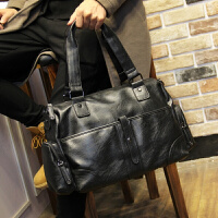 男包 男士商务横款手提包 韩版时尚斜挎包 休闲单肩包旅行包包 黑色