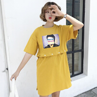 时尚个性两穿印花连衣裙女夏装新款韩版百搭圆领宽松短袖T恤裙子