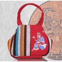 云南民族风包包妈妈买菜包迷你手提包小拎包零钱包帆布包中年女包 红色