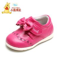 小熊维尼童鞋学步鞋女宝宝红色小皮鞋真皮软底甜美可爱公主鞋春秋
