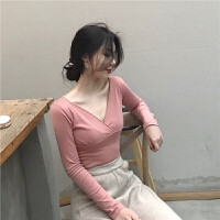 新款港味性感低v领修身显瘦纯色薄绒长袖气质套头T恤上衣打底衫女