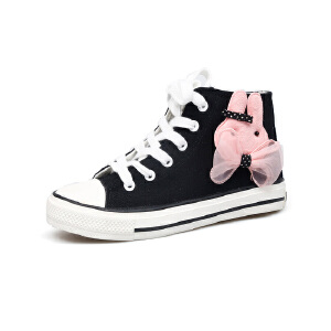 比比我女童可爱图像帆布鞋2017春秋新款儿童帆布鞋女高帮透气休闲鞋潮 防滑橡胶鞋底