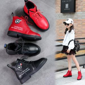 女童靴子2018冬季新款韩版公主儿童棉靴加绒中高筒学生单靴马丁靴