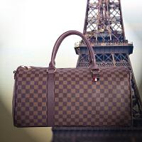 手提旅行包大容量折叠轻便防水格子出门男便携圆筒同款旅游行李袋