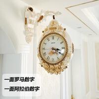 家用艺术双面挂钟客厅挂表创意欧式复古静音石英钟表个性现代时钟 米白色 富丽堂皇[FS色] 20英寸