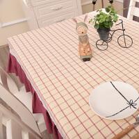 棉麻布艺格子桌布粉色餐桌茶几全包桌套地中海美式清新桌罩 90* 150CM