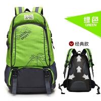 韩版书包旅行包运动大容量双肩包女户外中学生男士旅游背包登山包 绿色 经典版