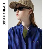 【1件3折价:99.5元】初语衬衫女秋装新款bf风复古英伦风条纹字母蓝色宽松长袖衬衣