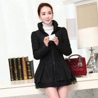 棉衣女中长款秋冬装大码修身韩版时尚蕾丝欧根纱外套加厚外套