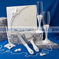 商务会议宴会婚庆用品结婚道具签名册签到笔座对杯红酒酒杯马蹄莲