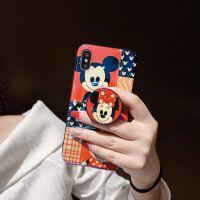 卡通可爱6splus苹果XS Max手机壳蓝光米奇米妮X/XR女款带支架iPhone7p全包边 6/6S 米奇米妮+气