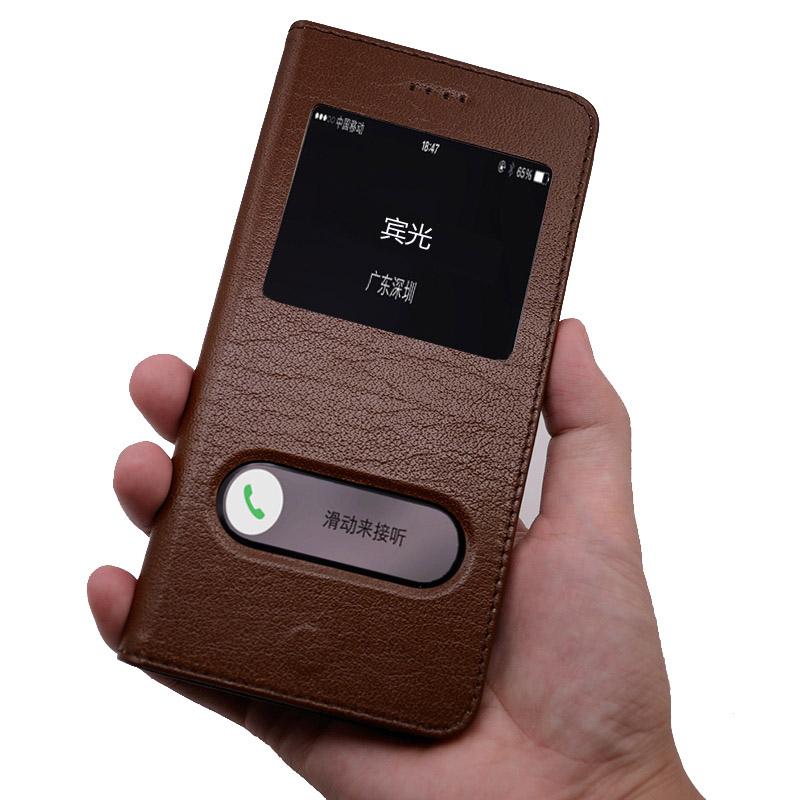 苹果6splus手机壳翻盖式6s/8皮套真皮iPhone7plus皮套苹果8plus保护套I8牛皮防 小屏6/6s 4.7寸 棕色+线+钢化膜