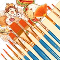 乔尔乔内12支油画水粉水彩丙烯勾线画笔套装多功能专业美术尼龙毛圆尖头平头颜料幼儿园刷长笔杆毛笔美术学生