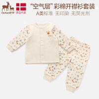 欧孕婴儿保暖内衣套装纯棉秋冬款1-3岁宝宝家居睡衣