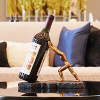 红酒架摆件酒柜创意现代简约客厅玄关电视柜个性欧式工艺软装饰品 古铜色人物酒架摆件