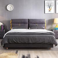 布艺床北欧实木布床可拆洗简约现代小户型主卧1米8实木双人床婚床 +5D针织面料床垫+2柜 1800mm*2000mm