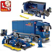 小鲁班拼装玩具 男孩益智F1赛车儿童拼装玩具积木塑料拼插 0357