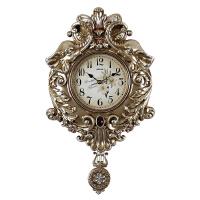 欧式挂钟客厅豪华静音现代钟表时尚简约田园大象摇摆钟 创意挂钟 16英寸