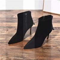 网红短靴女冬季2018新款尖头短筒高跟黑色袜靴细跟靴子绒面瘦瘦靴SN8912 黑色 单里