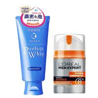 资生堂(Shiseido)洗颜专科男女士洁面乳120g+欧莱雅 男士劲能醒肤露50ml套装