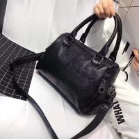 包包2018新款波士顿包手提包女欧美时尚真皮拼接单肩包简约斜挎包SN8731 黑色