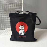 ins帆布包女单肩手提小清新学生书包购物袋日韩国大容量简约猫咪