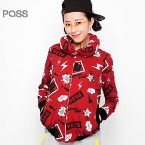 PASS原创潮牌秋装 宽松卡通印花红色拉链卫衣款短外套女6531411016