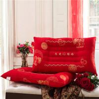 ???大红全棉提花枕套婚庆结婚枕头套子纯棉枕芯套一对 48cmX74cm