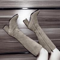 卡其色靴子女冬款高靴卡其色粗跟高跟中长靴秋冬季高筒靴冬天高桶靴子女鞋 TBP