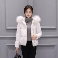 №【2019新款】冬天美女穿的2018新款短款羽绒服女时尚冬装韩版加厚连帽大毛领白色小款短外套