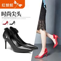 【领�幌碌チ⒓�120】红蜻蜓女鞋春季新款尖头真皮时装浅口女单鞋时尚细高跟鞋
